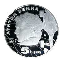 "5€ Silver proof coin dedicated to the ""20th Anniversary of the death of Ayrton Senna"""