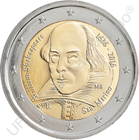 "2 Euro commemorative uncirculated coin dedicated to the ""400th anniversary of the death of William Shakespeare"""